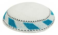 Personalized Knit Kippot - White with Teal/Turquoise