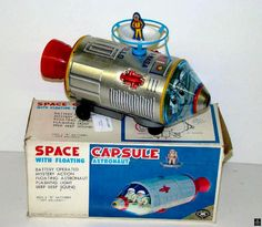 Space Capsules - SPACE CAPSULE WITH FLOATING ASTRONAUT - MASUDAYA - JAPAN - ALPHADROME ROBOT AND SPACE TOY DATABASE