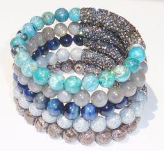 Beaded Bracelet with Blue Tigereye Semiprecious by rockstarsz, $26.99