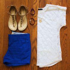 lace shirt, monogram necklace, cobalt blue shorts