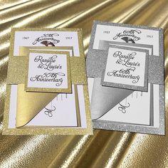 50th Anniversary Invitations, Glitter Wedding Invitations, 25th Wedding Anniversary, Handmade Wedding Invitations, Gold Invitations, String Lights, Gold Glitter, Handmade Cards, Cheers