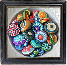 Blythes Buttons are handpainted buttons beautiful enough to display in a bowl or in a frame for unique wall art, and sturdy enough for the practical decorative applications embellishing clothing, purses, accessories, throw pillows, etc,