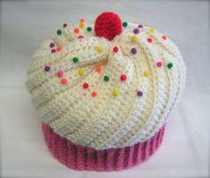 Chapeau de Cupcake, écru, glaçage, gâteau rose avec paillettes