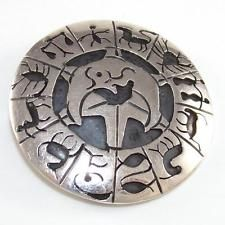 Sterling Silver Vintage Zodiac Astrology Taxco Mexico Pin Brooch Pendant