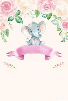 Elephant Baby Showers, Pink Elephant, Baby Boy Shower, Baby Shawer, Baby Art, Elephant Pictures, Baby Icon, Cute Baby Girl Pictures, Baby Posters
