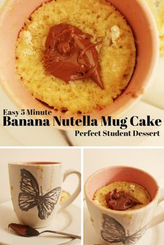 Recipe: Banana Nutella Mug Cake | Quick Mug Cake | Banana Bread for One | Microwave Banana Bread | Nutella Mug Cake | Perfect Student Recipe | Five Minute Banana Bread