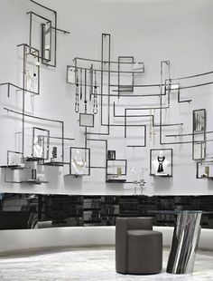 If I could mimic this idea but make the walls look like circuits, it would be LEGENDARY!  Lane Crawford, Beijing designed by Yabu Pushelberg