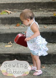 Rosy Romper Size 3/6 months to Size 3T PDF by sewsweetpatterns, $6.00