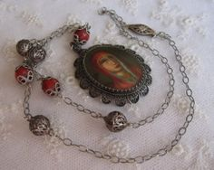 Antique Hand Painted Miniature Portrait of  Sad Madonna in Red