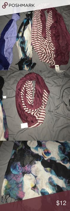 Scarf bundle Three scarves. Maroon one still has tags Accessories Scarves & Wraps