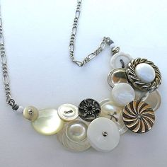 White and Silver Tone Vintage Button Large Statement Necklace $30