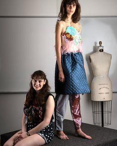 Designer Maisie Schloss with model Antonina Petkovic at Parsons Fashion Show.