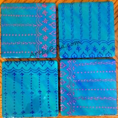 Light Blue with Rose & Dark Blue coaster set, painted with acrylics & sealed with resin, (c) Bala Thiagarajan, 2014 (available). $36 + $6 shipping #functionalart