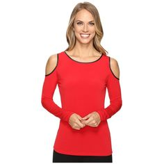 Calvin Klein Cold Shoulder Top w/ Faux Leather (Rouge) ($60) ❤ liked on Polyvore featuring tops