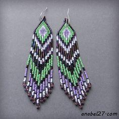 Сиренево-зеленые серьги из бисера - 230 / 365