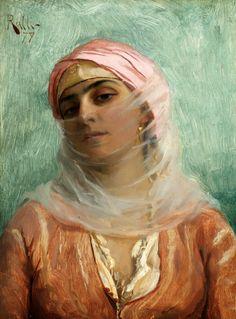 """Young Turkish Woman"" Theodoros Ralli - Greek painter, School of French Academy, orientalist Art And Illustration, Greek Paintings, Renaissance Paintings, Greek Art, Classical Art, Beautiful Paintings, Oeuvre D'art, Art History, Modern Art"