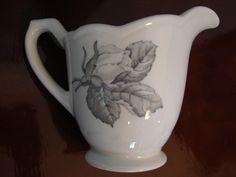 Vintage SYRACUSE, Cream Pitcher, U.S.A. Underglaze Transferware, Decal, Dark Grey Rose on White, Collectible Creamer by BackStageVintageShop on Etsy