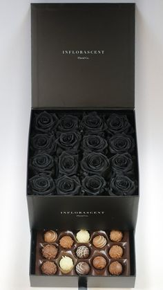 BLACK Roses!!! Real roses that last a year with chocolates! Amazing roses that smell good!