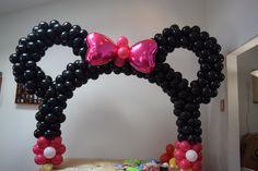 minnie mouse arco de balões fácil e bonito decoração para mesa