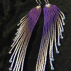 Silvery Purple Waterfall Delicate Long Seed Bead Handmade