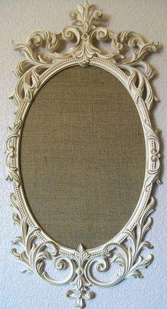 FRAMED BULLETIN BOARD CorkboardRomantic Ornate by shabbymcfabby Do this but use burlap inside the frame for my guest bedroom
