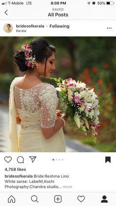 Flowers for wedding hair Bridal Hairstyle Indian Wedding, Bridal Sari, Wedding Saree Blouse, Indian Bridal, Christian Wedding Dress, Christian Bridal Saree, Christian Bride, Kerala Wedding Saree, Wedding Sari