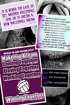 Volleyball is my life. I will never stop playing this sport. Even though most people don't like it, I do and so does my team and all the other girls who play volleyball. So what I'm trying to say is that volleyball is my life and I will never give it up!