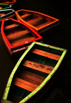 Colorful rowboats in the night