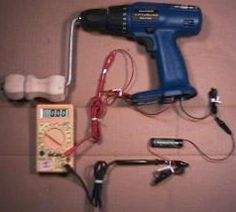 Hand-Cranked DC Generator by Mike -- Homemade hand-cranked DC generator adapted from a cordless drill. http://www.homemadetools.net/homemade-hand-cranked-dc-generator