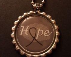 Brain Cancer Tumor Awareness 24 inch Ball Chain Bottle Cap Necklace $4.00
