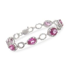 17.70 ct. t.w. Pink Topaz and .47 ct. t.w. Diamond Bracelet In Sterling Silver  Item#: 789031