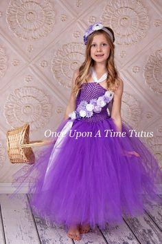 Purple Lavender White Flower Girl Tutu Dress by OnceUponATimeTuTus