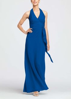 Long Blue Halter Bridesmaid Dress