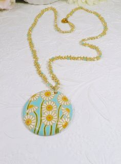 Woven Necklace with Porcelain Pendant Gold Blue by IndulgedGirl