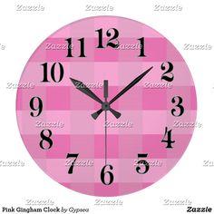 Pink Gingham Clock