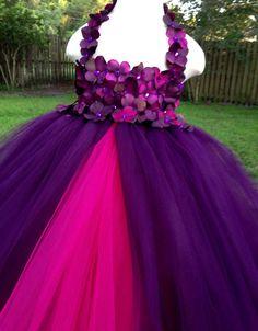 Purple eggplant plum tutu dress with flower straps & fuchsia underskirt by MissSweetPeaBoutique, $80.00