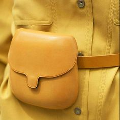 Forget citrus lemon, the colour palette is shifting towards a warmer, turmeric infused yellow dress this summer. Leather Accessories, Fashion Accessories, Purses And Handbags, Leather Handbags, Leather Backpack, Leather Bag, Belt Pouch, Belt Bags, Hip Bag