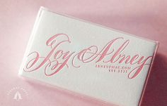 pink calligraphy letterpress