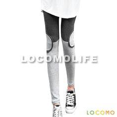 Women Half Circle Patch Knee Legging Pant Dark Gray