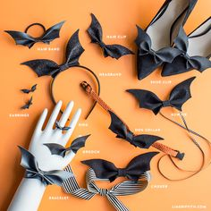 Go bat craft crazy with these eleven ways to wear our DIY bat bows! A fun accessory for vampires of all ages. Spooktacular style made simple!DIY Bat Wings Headband for Halloween - Lia GriffithHandcrafted lifestyle expert Lia Griffith shows you how to Adornos Halloween, Manualidades Halloween, Halloween Bows, Holidays Halloween, Halloween Crafts, Diy Halloween Jewelry, Diy Halloween Hair Accessories, Diy Halloween Headbands, Halloween Decorations