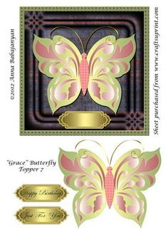 "Grace Butterfly Topper 7 on Craftsuprint designed by Anna Babajanyan - Large square topper for various occasion cards designed with my new ""Grace"" butterfly design. On the sheet I have included an extra image of the butterfly which you can attach on top of the butterfly image on topper and slightly bend the wings up for a beautiful 3D effect. The greetings label on topper I have left blank where you can write your own greeting suitable for the occasion or can choose from ready ""Happy ..."