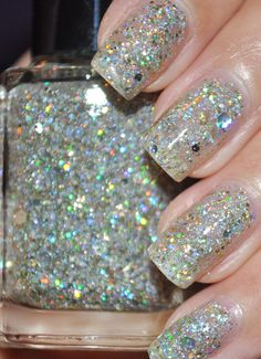 Mumbling Silver and Gold Holographic Glitter Hand-mixed Nail Polish