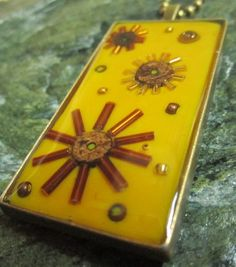 Items similar to Rectangle pendant in bronze, topaz, gold and yellow in 'Fireworks' design on Etsy Fireworks Design, Evolution, Topaz, Polymer Clay, Journey, Bronze, Texture, Yellow, Pendant