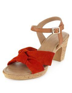 Suede Knotted Strap Platform Sandals | M&S