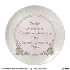 Inexpensive Melamine Personalized Wedding Plates for the Couple or for all of your wedding guests. CLICK: http://www.zazzle.com/inexpensive_melamine_personalized_wedding_plates-115674282394823188?rf=238147997806552929 Change the Blush to ANY COLOR. Blush Themed Wedding Reception Decorations will be more special than paper plates. Couples can enjoy eating on these plastic wedding plates everyday. More HERE…