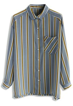 Contrast Vertical Stripes Shirt in Blue - New Arrivals - Retro, Indie and Unique Fashion