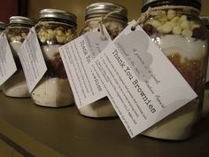 Brownie jar parting favors for party guests - in this case for a baby shower.  Layer ingredients as follows:  1/4 tsp. salt  5/8 c. flour  1/3 c. cocoa powder  1 1/8 c. flour  2/3 c. brown sugar  2/3 c. sugar  1/2 c. chocolate chips  1/2 c. white chocolate chips  1/2 c. walnuts