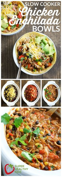FOOD - Slow Cooker Chicken Enchilada Bowls | Super Healthy Kids | Food and Drink http://www.superhealthykids.com/slow-cooker-chic…ada-bowls-recipe/