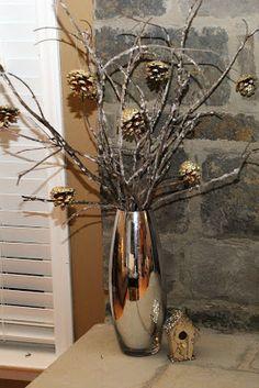DIY Icy Winter Twig Arrangement: twigs, glue, and Epsom Salt! :)