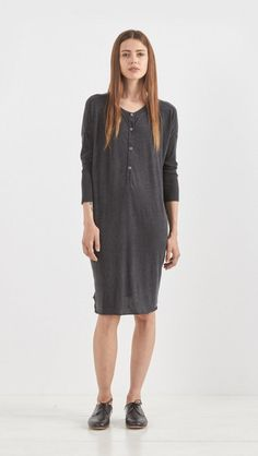 Raquel Allegra Combo Long Sleeve Henley Dress in Black | The Dreslyn